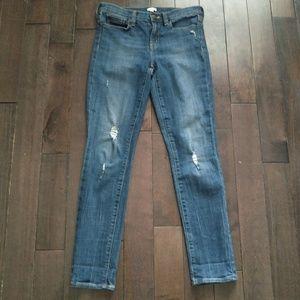 J Crew Medium Wash Distressed Skinny Denim Jeans